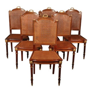 Set of 6 Louis XVI Style Dore Bronze Mounted Dining Chairs For Sale