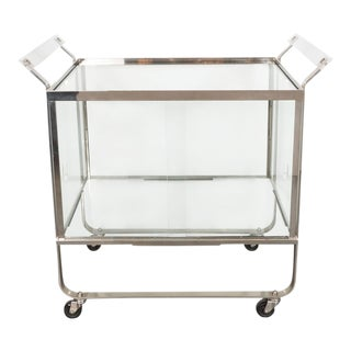 Art Deco Streamline Nickel and Glass Bar Cart by Treitel For Sale