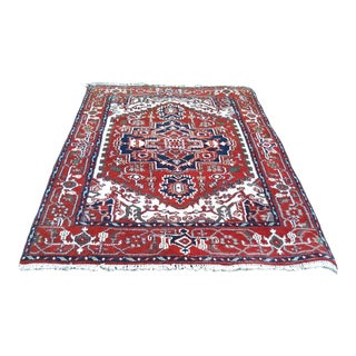 Indo Serapi Oriental Hand Knotted Wool Carpet - 4′ × 6′ For Sale