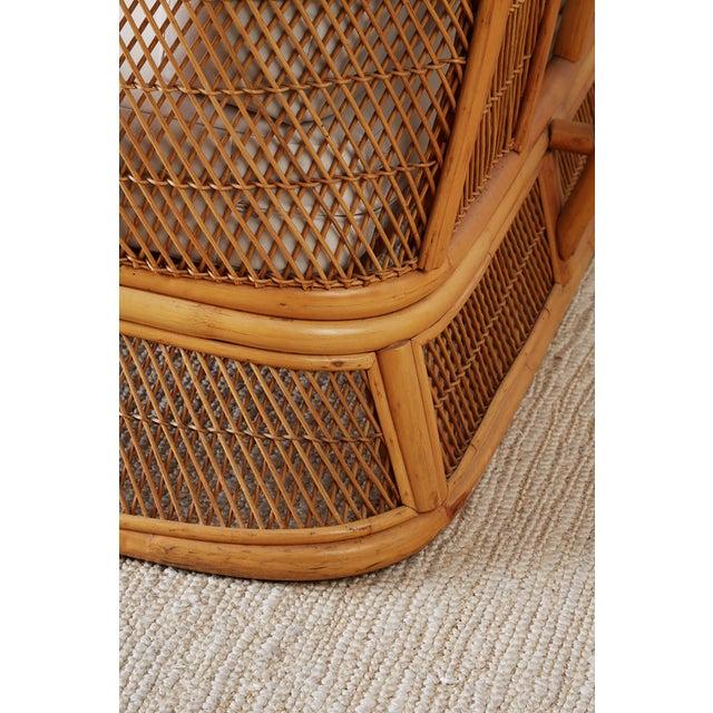 Midcentury Bamboo Rattan Wicker Three-Seat Sofa For Sale - Image 11 of 13