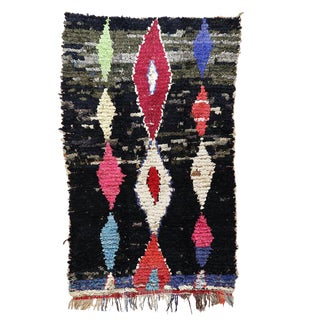 "Graphic Moroccan Berber Boucherouite Rug - 4'2"" X 6'10"" For Sale"