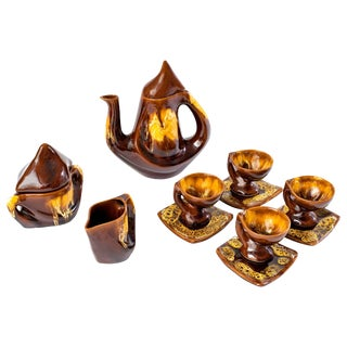 1960s Vintage Vallauris Ceramic Coffee Set- 13 Pieces For Sale