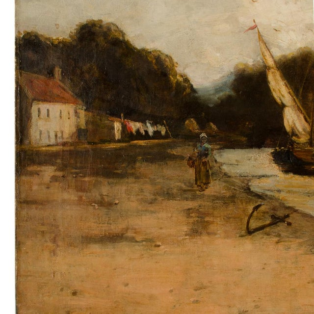 "Canvas Late 19th Century ""On the Canal"" Coastal Oil Painting For Sale - Image 7 of 13"