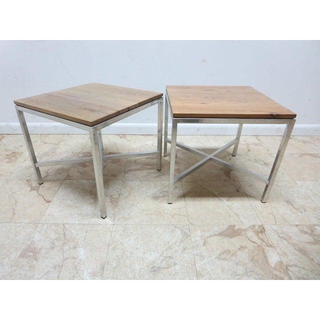 Walnut Tomlinson Milo Baughman Mid-Century Walnut Aluminum End Tables - A Pair For Sale - Image 7 of 8