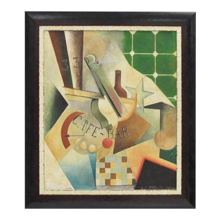 Russian Artist Chiokine Art Deco Cubist Gouache and Collage on Board Painting For Sale