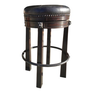 Theodore Alexander Leather Swivel Bar Stool For Sale
