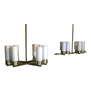 1960s Mid-Century Jacques Adnet Brass Chandelier, France - a Pair For Sale