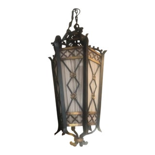 Antique French Style Gold and Metal Lantern For Sale