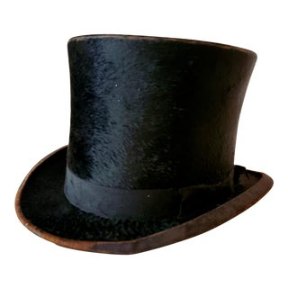 Antique Beaver Fur Top Hat For Sale
