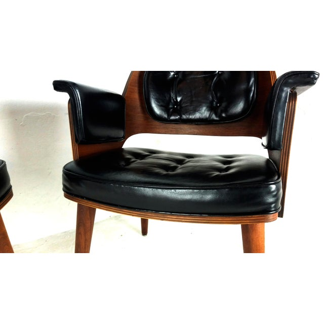 Mid-Century Danish Leather & Walnut Lounge Chairs - A Pair - Image 5 of 10