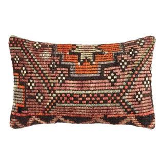 "Vivid Vintage Kilim Lumbar Pillow | 12 X 20"" For Sale"