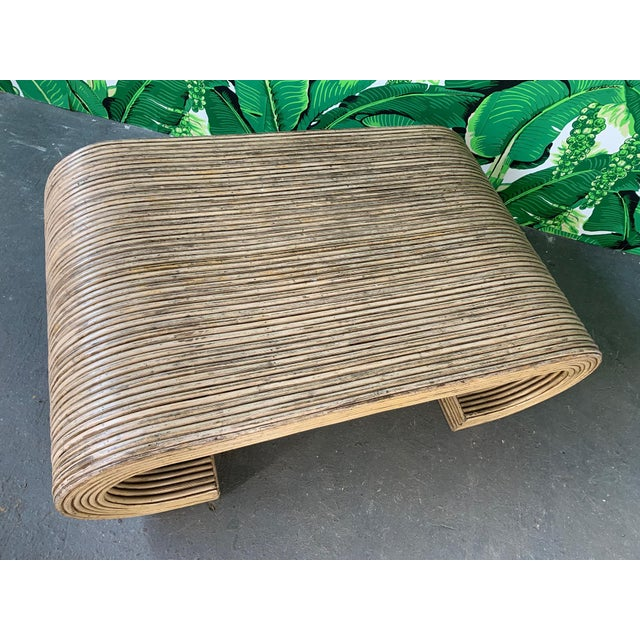 Split Reed Rattan Wrapped Scroll Coffee Table in the Style of Crespi For Sale - Image 6 of 9