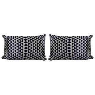 Navy and White Geometric Throw Pillows - Set of 2 For Sale