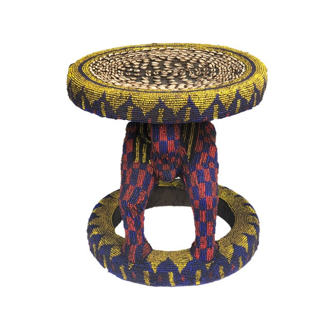 Superb Old large Original and unique hand made wood covered with colorful trade glass bead Stool /Table by the Bamileke...