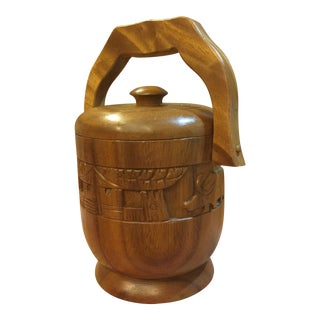 Vintage Carved Wood Ice Bucket For Sale