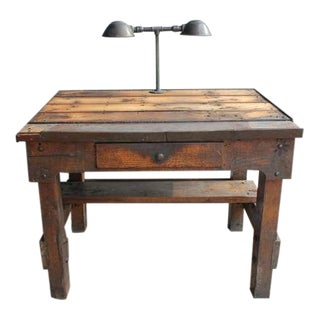 1930's Antique Industrial Oak Desk For Sale