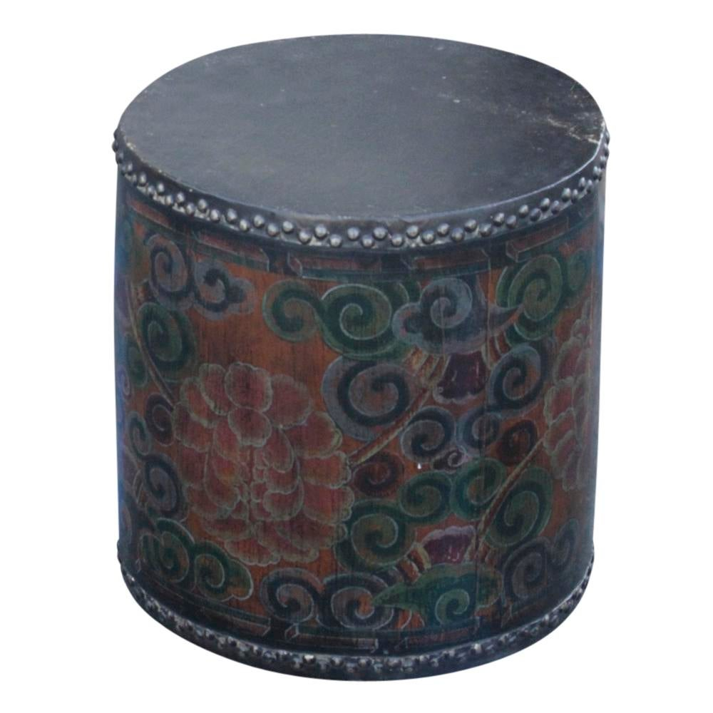 Nice Rustic Tibetan Drum Side Table   Image 5 Of 6 Good Looking