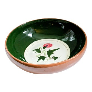 Stangl Mid-Century Redware Pottery Serving/Salad Bowl - Pink Thistle Pattern For Sale