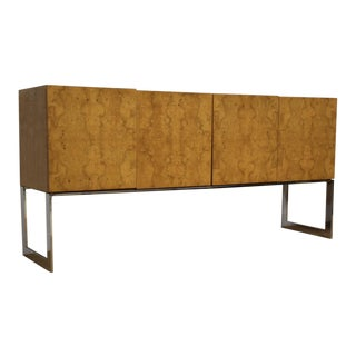 Milo Baughman for Thayer Coggin Burl and Chrome Credenza