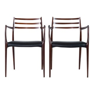 Pair of Niels Moller Rosewood Armchairs Model #62 For Sale