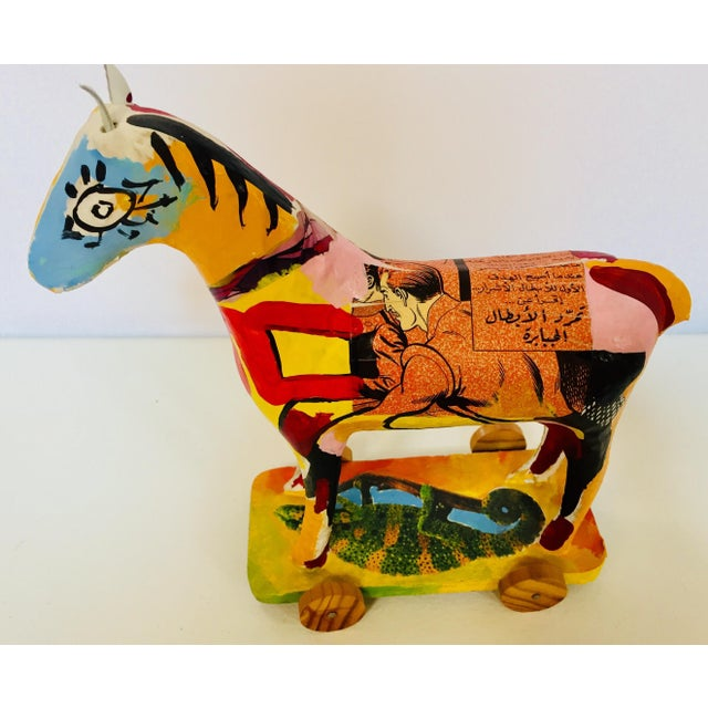 1980s Papier Mâché Sculpture of a Horse in Polychrome Arabic Writing For Sale - Image 5 of 12