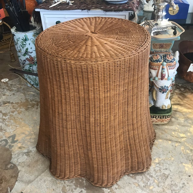 Mid Century Wicker Trompe L'oeil Draped Ghost Table - Image 7 of 8