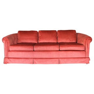 Hickory - Fry Coral Velvet Curved Sofa For Sale