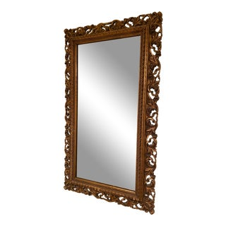 Antique French Carved Wood Framed Mirror For Sale