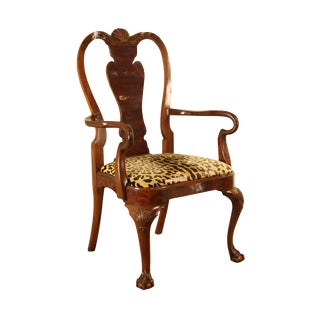 Karges Mahogany Queen Anne Claw Foot Armchair For Sale