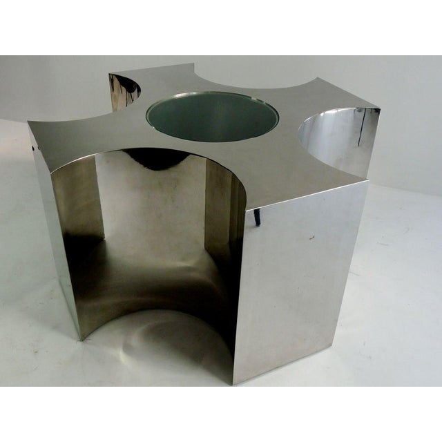 Rare Large Scale Polished Steel Table For Sale - Image 4 of 7
