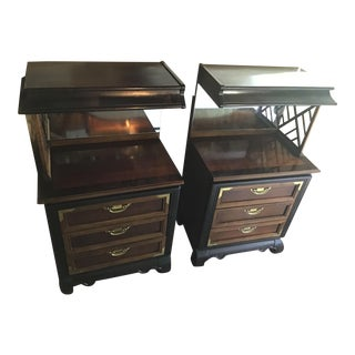 Chin Hua Asian Style Nightstands - a Pair Bridge Top Removable