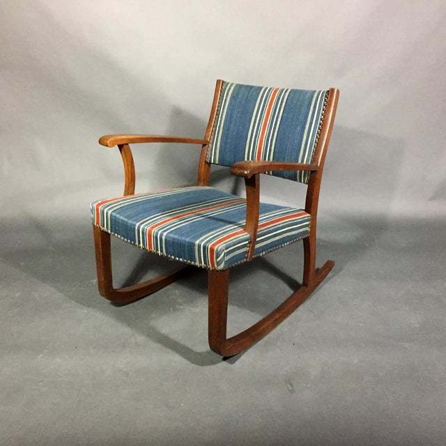 Blue 1940s Danish Rocking Chair, Oak and Wool Stripe For Sale - Image 8 of 12