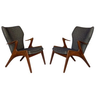Pair of Kurt Ostervig Sculptural Lounge Chairs For Sale