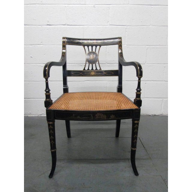 Traditional Pair of Sheraton Style Stenciled Armchairs For Sale - Image 3 of 11