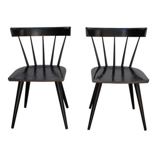 1950s Mid-Century Modern Paul McCobb Planner Group Black Lacquer Spindle Back Chairs - a Pair