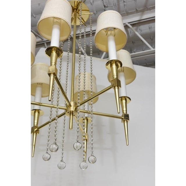 Polished Brass and Glass Beaded Chandelier by Tommi Parzinger For Sale - Image 9 of 10
