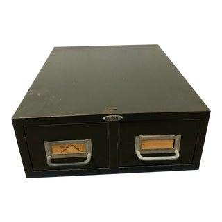 Vintage Industrial Metal 2 Drawer File Cabinet by Cole Steel For Sale