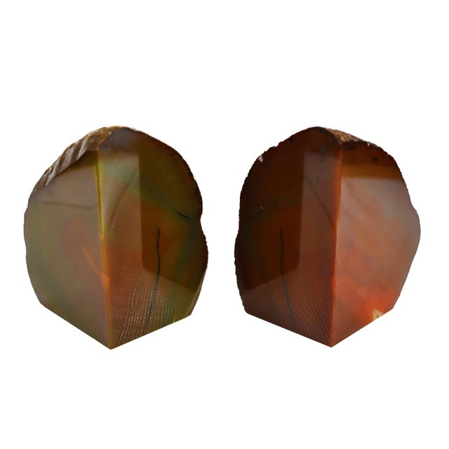 Red Agate Natural Geode Stone Bookends - a Pair For Sale - Image 4 of 7