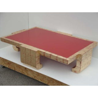 1970s Hollywood Regency Baker Gold and Red Lacquer Coffee Table Preview