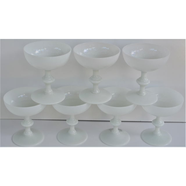 1970s Portieux Vallerysthal French Ivory Opaline Champagne Coupes - Set of 7 For Sale - Image 9 of 9