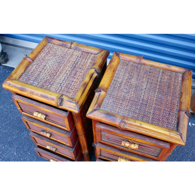 Bamboo Wicker Chests of Drawers / Nightstands - a Pair - Image 7 of 8