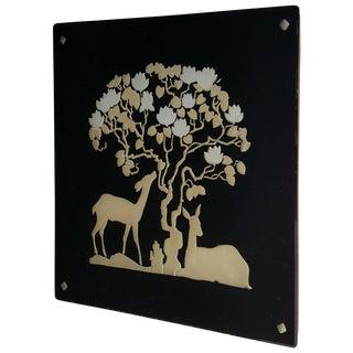 Art Deco Vitrolite 'Black Glass' Reverse Decorated Deer Motif Mirror For Sale