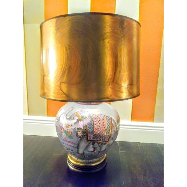 Rare Frederick Cooper Brass Inlayed Blue Pearlized Elephant Table Lamp W/ Gold Shade For Sale - Image 12 of 12