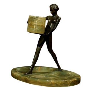 Swedish Art Deco Female Nude Bronze Sculpture on Onyx Base For Sale