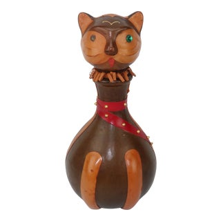 Italian Leather Cat Decanter Bottle For Sale