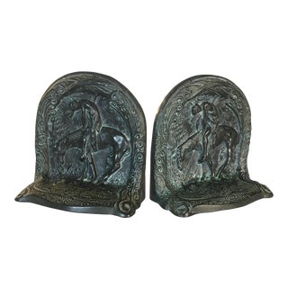 Resting Maiden on a Horse Bookends - A Pair