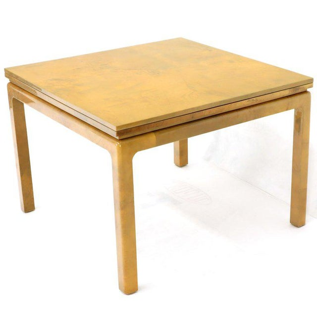 Lacqured Goat Skin Parchment Square Flip Top Dining Table For Sale - Image 13 of 13