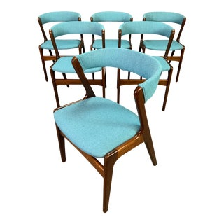 Vintage Danish Mid Century Modern Mahogany Dining Chairs in the Manner of Kai Kristiansen. Set of Six. For Sale