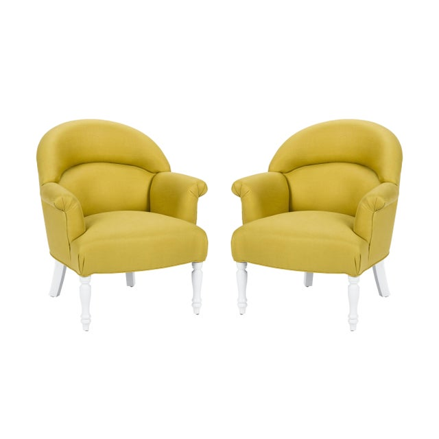 Casa Cosima Napoleon III Chair in Citron Linen, a Pair For Sale - Image 9 of 9