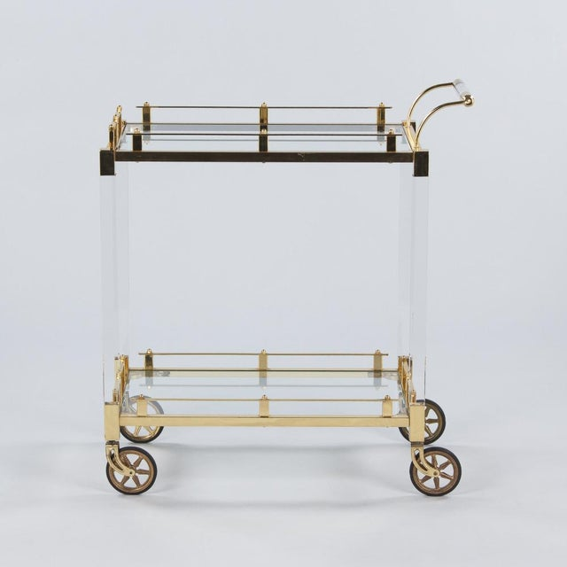 Mediterranean 1970s Spanish Lucite and Brass Bar Cart For Sale - Image 3 of 11